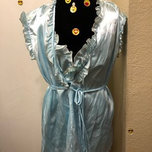 Simple Blue Silky Night Gown Set!!!